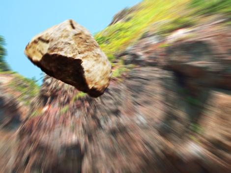 落石シーン