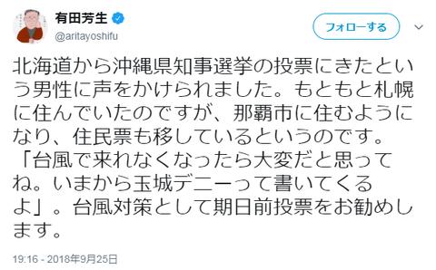 有田芳生「北海道から沖縄知事選挙に投票に来た男性に声をかけられました 。『台風で来れなくなったら大変だと思ってね。いまから玉城デニーって書いてくるよ』」
