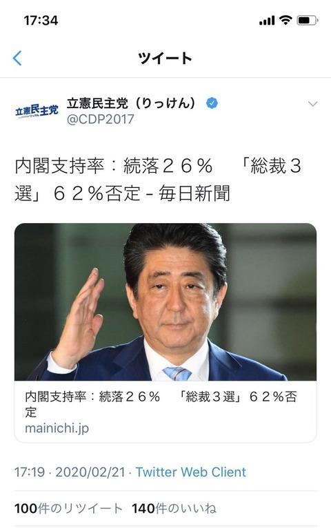 立憲民主党公式「内閣支持率続落26」とツイート→「それ2017年の記事」→削除して知らんぷりへ