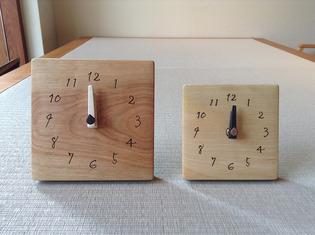 木の時計J1とJ2