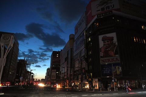 北海道地震_すすきの交差点