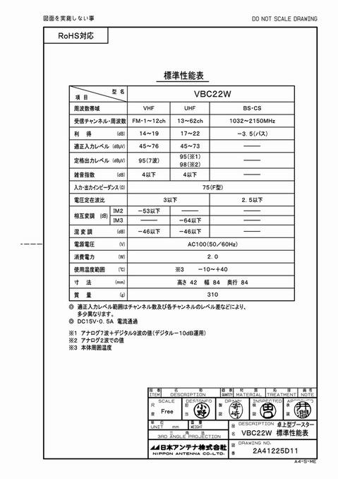 卓上型ブースターVBC22W性能表