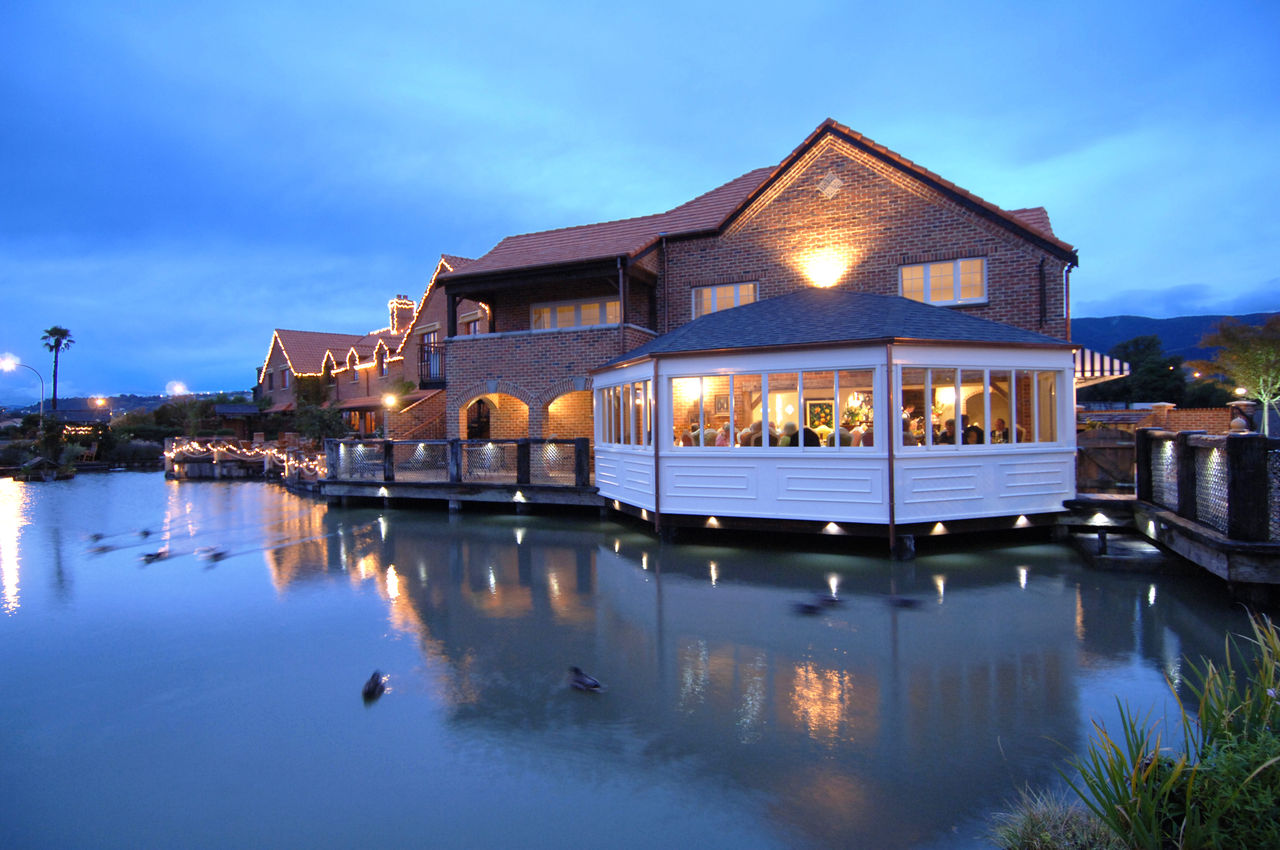 TMK restaurant - exterior in evening light