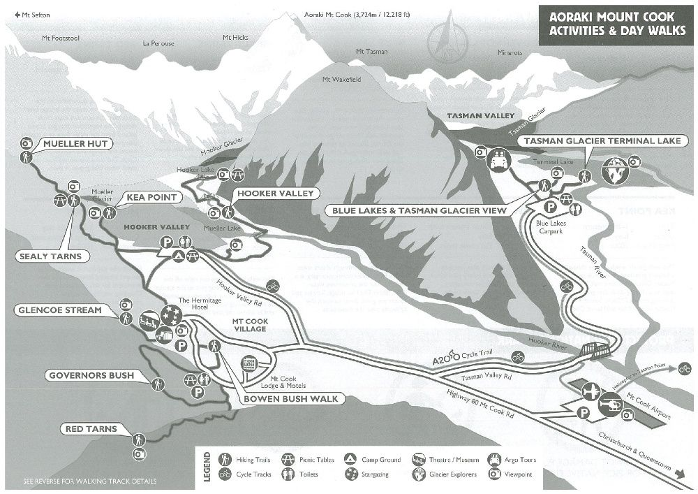 Mt Cook National Park Hiking Map