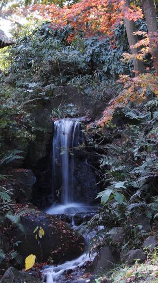 滝の流れ、遠景