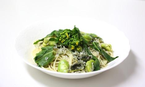 野沢菜の菜の花とシラスのパスタ