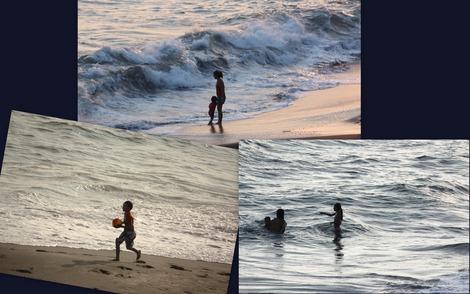 夕暮れの海に遊ぶ