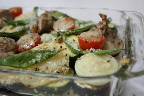 野菜とチキンのチーズ・グリル