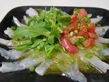 真鯛のカルパッチョ、柚子胡椒風味