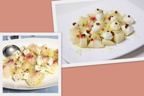 桃とチーズ
