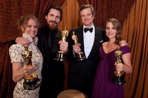 オスカー俳優&女優となった4人。左からレオ、ベール、ファース、ポートマン/TODD WAWRYCHUK / cA.M.P.A.S.