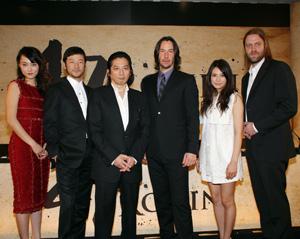 『47 RONIN』製作会見、左から菊地、浅野、真田、リーヴス、柴崎、リンシュ監督