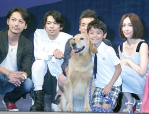 柏原(左)、岡田、佐藤、ロック、土師野、麻生、映画『ロック?わんこの島?』完成披露試写会にて。撮影=南樹里