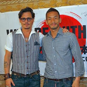 ジョニー・デップ(左)と中田英寿(右)の貴重な2ショット写真