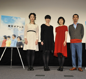 (左から)黒木華、原田知世、小林聡美、加瀬亮、映画『東京オアシス』完成披露試写会にて