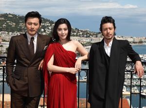 チャン・ドンゴン、ファン・ビンビンとオダギリジョー、カンヌにて cKazuko Wakayama