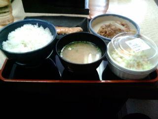 牛鮭サラダ定食110620