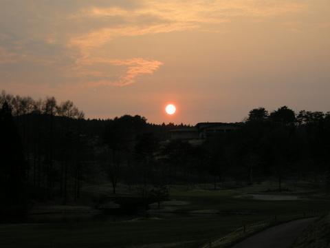 ゴルフ場の夕焼け