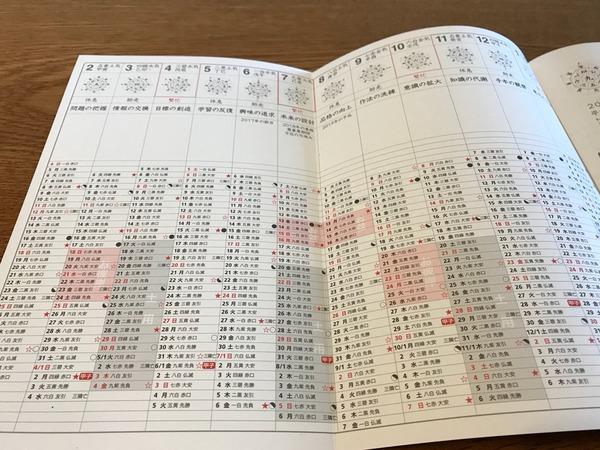 イヤリーカレンダー