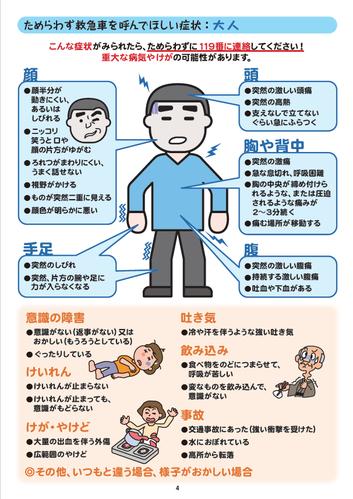 救急車を呼ぶ症状(大人)