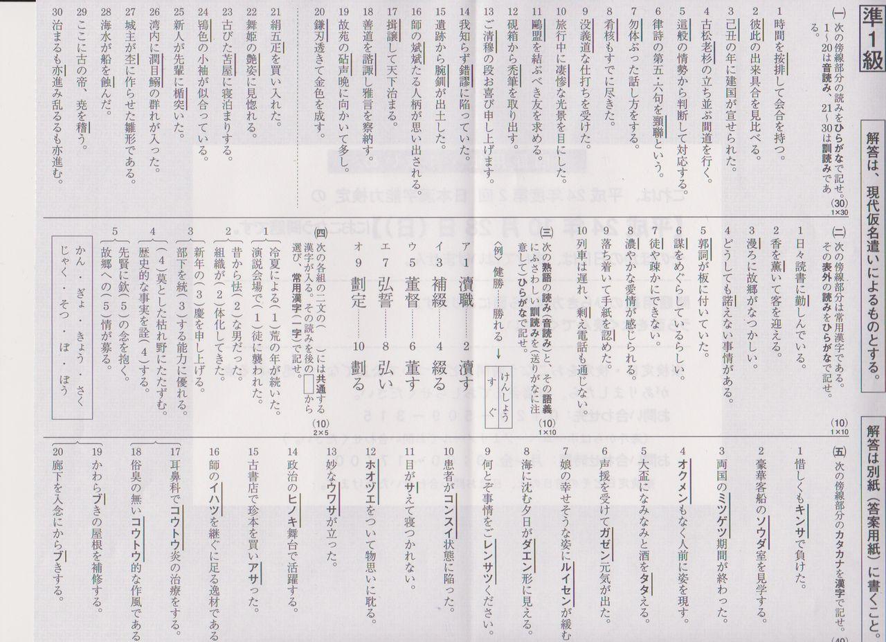 漢検準1級標準解答(平成24年第 ... : 漢字問題集 : 漢字