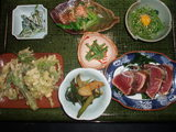 山菜料理とかつおのたたき