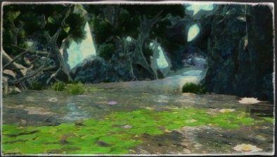 油彩画:タングル湿林