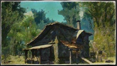 油彩画:ガビノー親方の小屋