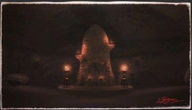 風景画:シーソング石窟の慰霊碑