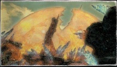 水彩画:唄う裂谷
