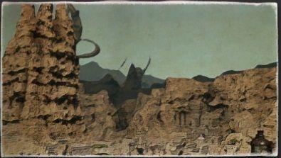 油彩画:カルン埋没寺院