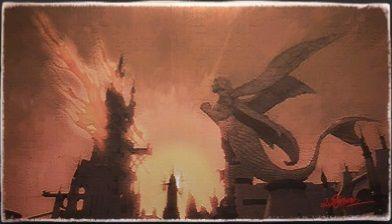 風景画:エールポートのリムレーン像