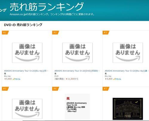 嵐「ARASHI Anniversary Tour 5×20」BD&DVDがAmazonやセブンネットで売り上げTOP3独占