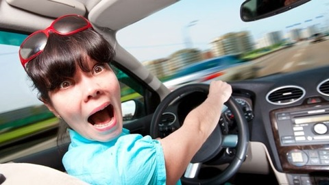Driver-excuses-scared-woman-driving-car