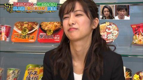 TBS田村真子アナが吸い込む顔。