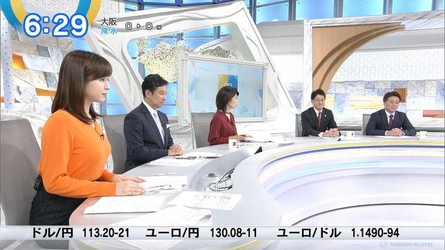 角谷暁子アナ オレンジニットの横乳!