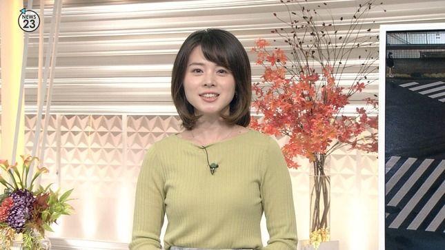 皆川玲奈アナ ニット乳!