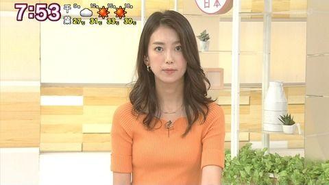 和久田麻由子アナがニットでおっぱい強調。