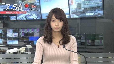 宇垣美里アナの上向きでパツパツなニットおっぱい。
