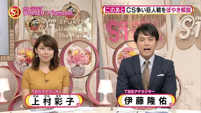 【画像】TBS上村彩子アナの胸がけしからんぞww(S☆1、スーパーサッカー)