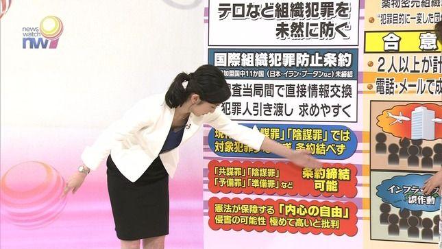 田中泉アナ 「ニュースウォッチ9」でまさかの胸チラ!!