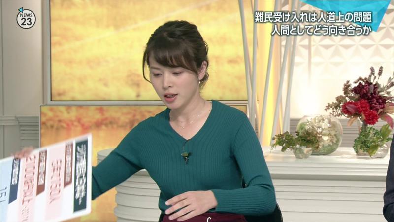 皆川玲奈のエッチなニットおっぱい NEWS23 181110