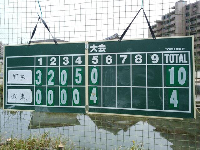 竹矢アドバンスとの二試合目の得点表