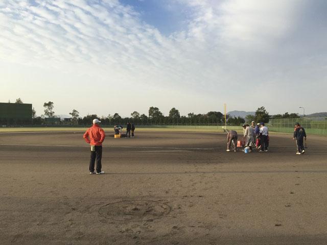 美保関球場グラウンド整備ホワイトライン引き・会場当番