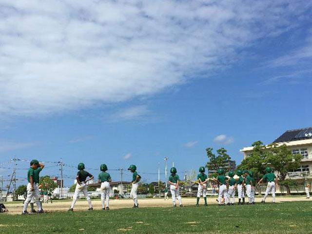 野球練習、ひさびさの晴れ