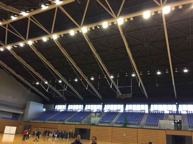 建て替えられた松江市総合体育館・メインアリーナ内部