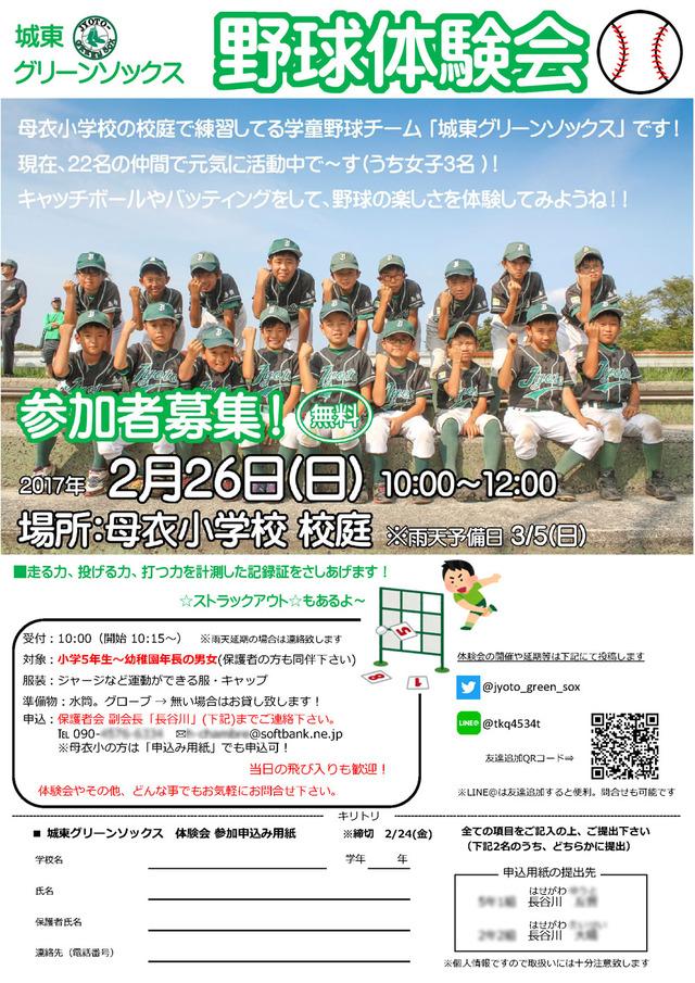 野球体験会・参加者募集と申込みのチラシ