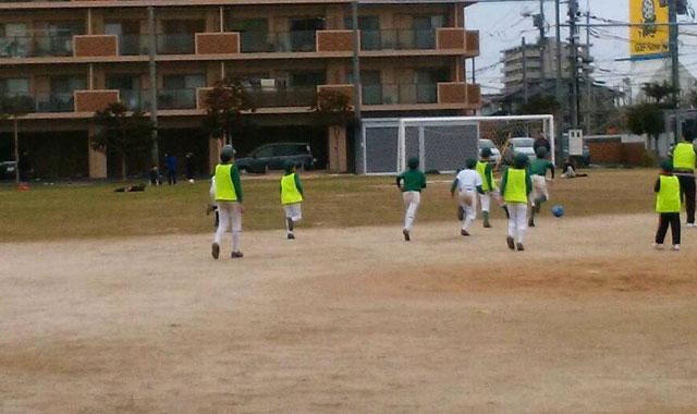 体力づくりトレーニングのサッカー中