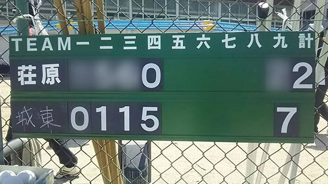 荘原スポーツ少年団との試合結果スコアボード