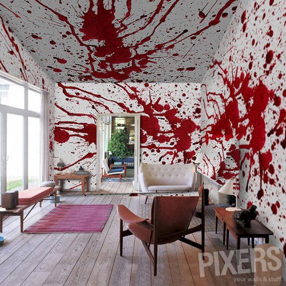 wall mural blood splatter blood horror naver. Black Bedroom Furniture Sets. Home Design Ideas